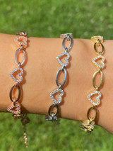 Real 925 Sterling Silver / Yellow Rose Gold Paperclip Heart CZ Ladies Bracelet
