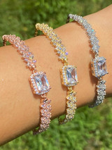 Real 925 Silver Yellow Rose Gold Emerald Cut Large CZ Baguette Crystal Bracelet