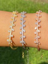 Real 925 Sterling Silver Yellow Rose Gold Floral Branch Iced CZ Ladies Bracelet