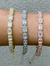 Real 925 Silver / Yellow Rose Gold Baguette CZ Crystal Tennis Halo Bracelet 6mm