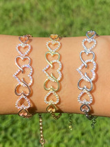 Real 925 Sterling Silver / Yellow Rose Gold Heart Shape Love CZ Ladies Bracelet