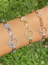 Real 925 Sterling Silver Yellow Rose Gold Infinity Four Leaf Clover CZ Bracelet