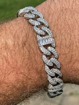 Real Solid 925 Silver Mens Miami Cuban Iced Gucci Link Bracelet Baguette Diamond