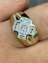Men's Iced 14k Gold & Real Solid 925 Silver Diamond RING Size 6 7 8 9 10 11 12