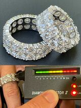 Real 925 Silver Hip Hop Iced Tennis 10mm Moissanite Ring - Passes Diamond Tester