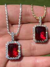 Real 925 Silver / 14k Gold Mens Hip Hop Iced Ruby Pendant Diamond Necklace Out
