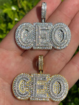 Real 925 Silver / Gold Large Iced Baguette Diamond CEO Big Boss Necklace Pendant