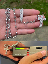 """MOISSANITE Rosary Beads Necklace Real 925 Sterling Silver Rosario Jesus 30"""" 6mm"""
