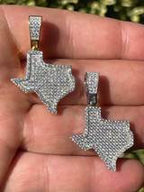 Real 925 Silver Hip Hop Texas State Shape Pendant Iced Diamond Necklace Gold