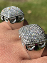 Men Real Solid 925 Sterling Silver Hip Hop Ring Big Iced Diamond Huge 23mm Pinky