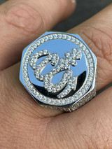Real Solid 925 Sterling Silver Allah Islamic Arabic Ring Iced Diamond Hip Hop