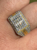 14k Gold Vermeil Real 925 Silver Ring Iced Baguette Diamond Hip Hop Size 6-13