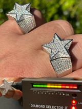 Solid 925 Silver Iced Hip Hop Out STAR Pinky RING MOISSANITE Pass Diamond Tester