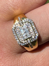 Mens Real Solid 925 Sterling Silver 14k Gold Vermeil Ring Iced Baguette Diamond