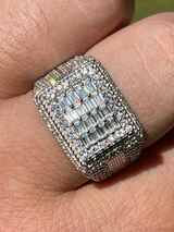 Mens Real 925 Silver Ring Iced Baguette Diamond Pinky Hip Hop Size 6 7 8 9 10 11