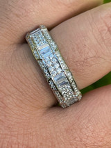 Real Solid 925 Sterling Silver Iced Baguette Diamond Wedding Band Or Pinky Ring