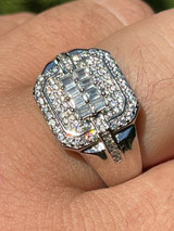 Mens Real Solid 925 Sterling Silver Ring Fully Iced Baguette Diamond Flooded Out