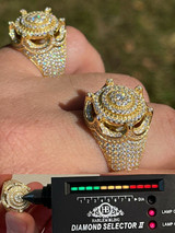 MOISSANITE Iced Ring Men's 14K Gold Vermeil Solid 925 Silver King Crown Pinky