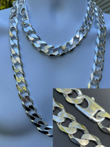 Real Solid 925 Silver 18mm Men's Hip Hop Miami Cuban Curb Link Chain Or Bracelet
