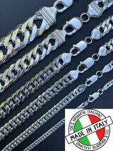 Solid 925 Sterling Silver Double Curb Cuban Chain Necklace / Bracelet TIGHT LINK