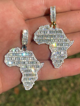 Real 925 Silver Gold Hip Hop Africa Map Shape Pendant Iced Diamond Necklace Gold