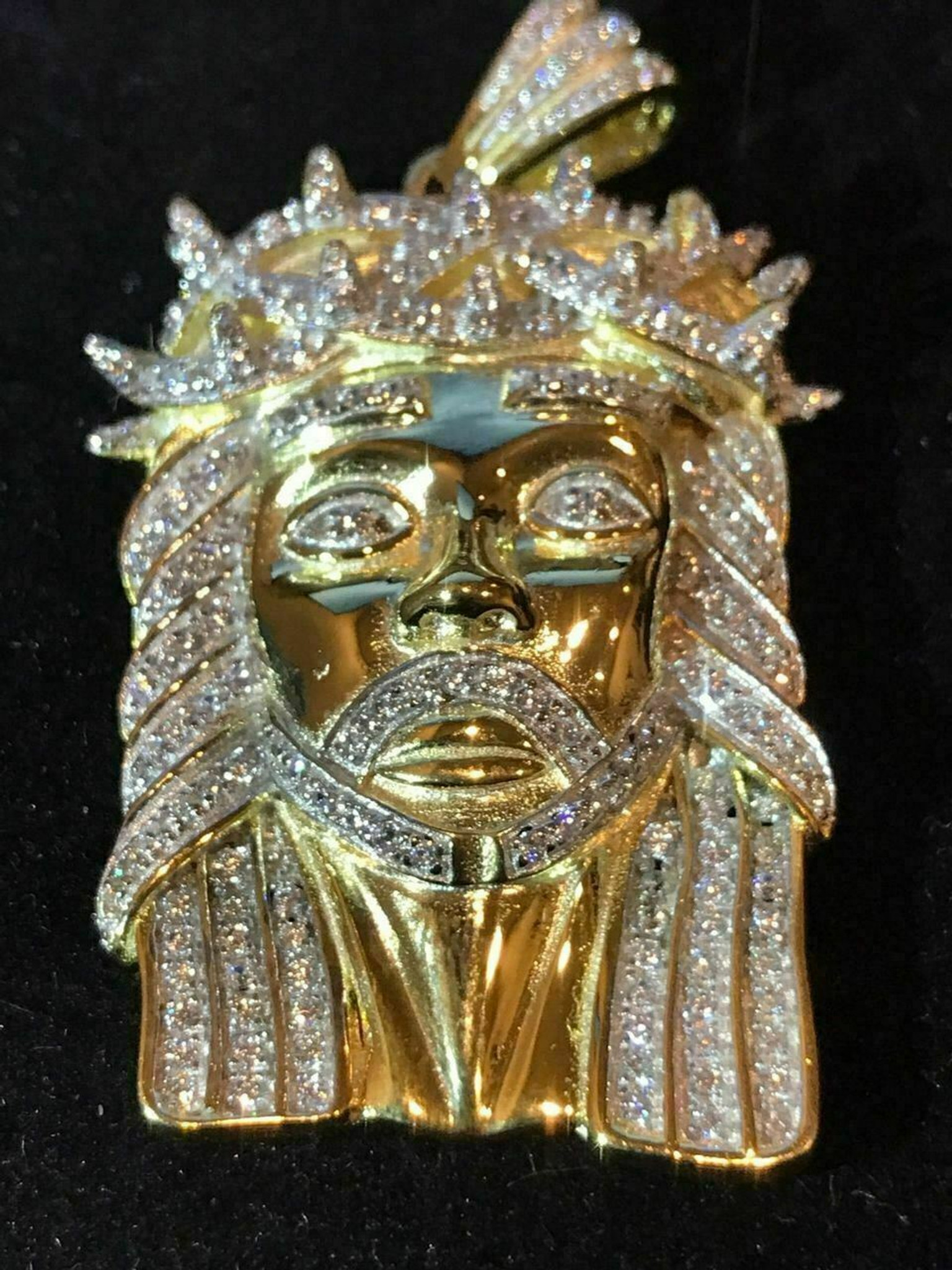 Details about  /925 STERLING SILVER ICY DIAMOND BLING JESUS FACE GOLD CHARM PENDANT*GP135