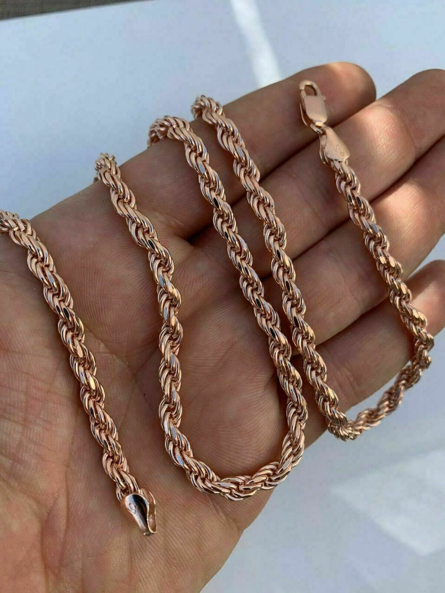 14k Rose Gold Over Solid 925 Sterling Silver Men S Rope Chain Heavy 5mm Italy