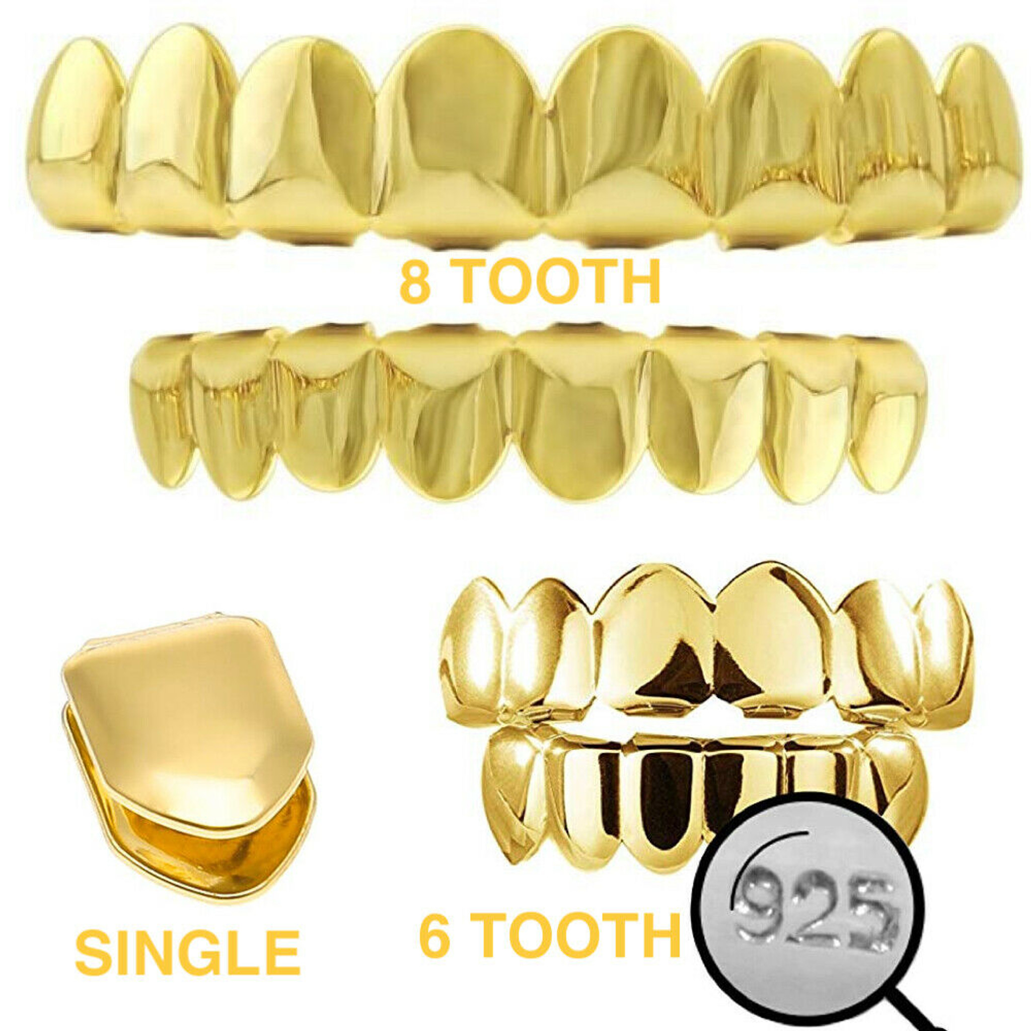 Real Solid 925 Sterling Silver Hip Hop Grillz Six Teeth Plain Top Bottom or Set