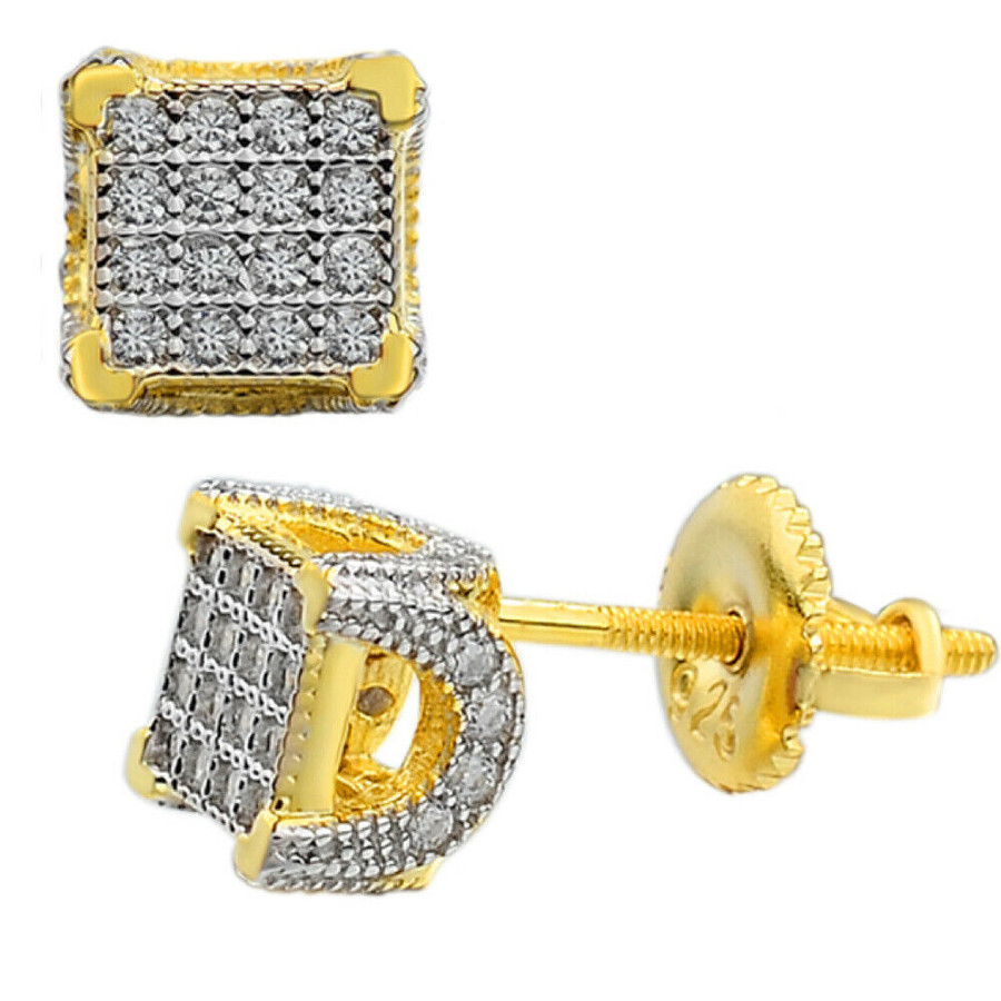 "Mens Ladies Solid 925 Silver & 14k Gold CZ Iced Earrings Studs Small 1/4"" Square"
