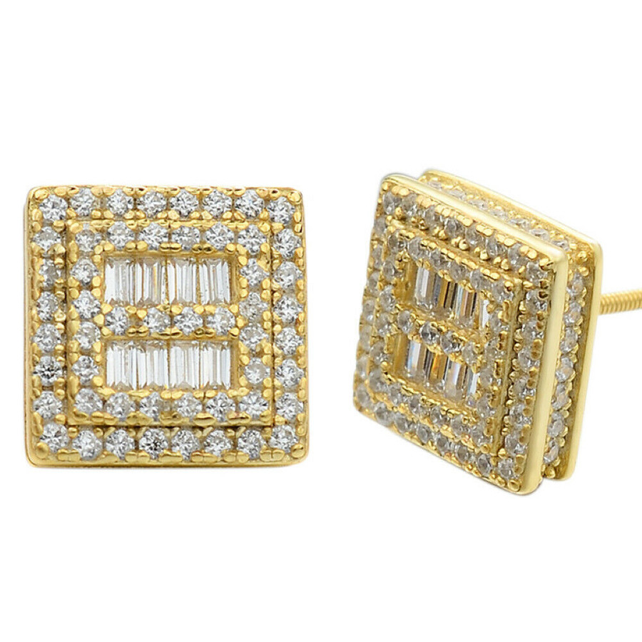 14k Gold & Solid Sterling Silver Ice Baguette Diamond Earrings Studs 10mm Square