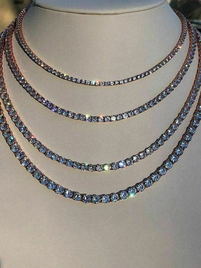 Tennis Chain 14k Rose Gold Over Real SOLID 925 Silver ICY Diamonds Men's Women's