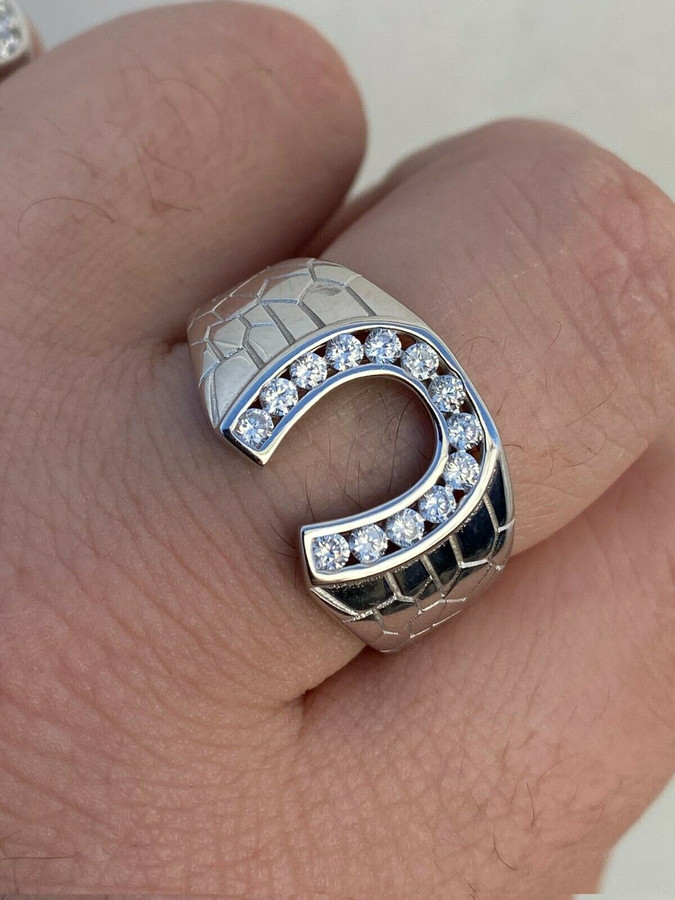 Men's Real Solid 925 Sterling Silver Lucky Horseshoe Ring Iced Sizes 7-13 Pinky