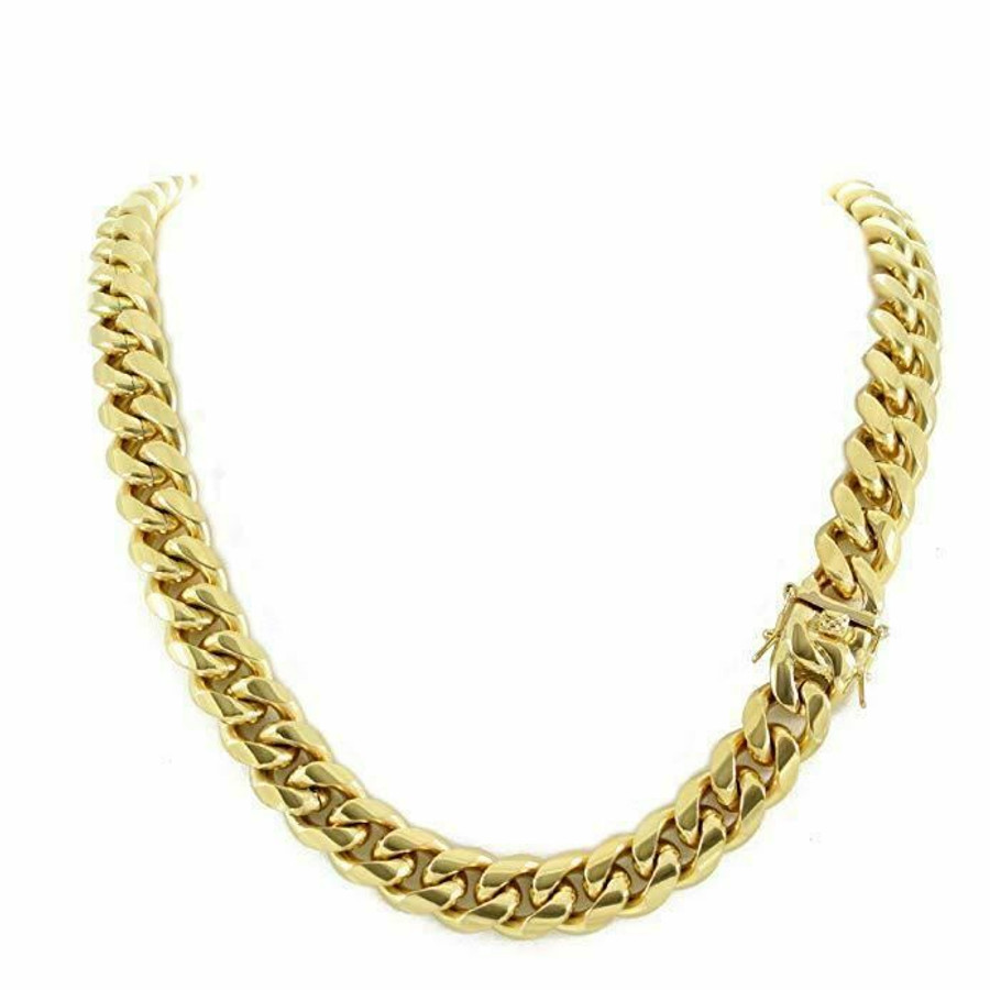 14mm Men Cuban Miami Link Chain 18k Gold Plated Stainless Steel 270 Grams HEAVY