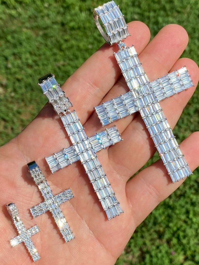 Solid 925 Sterling Silver Cross Pendant Baguette Iced Diamond Necklace Hip-Hop