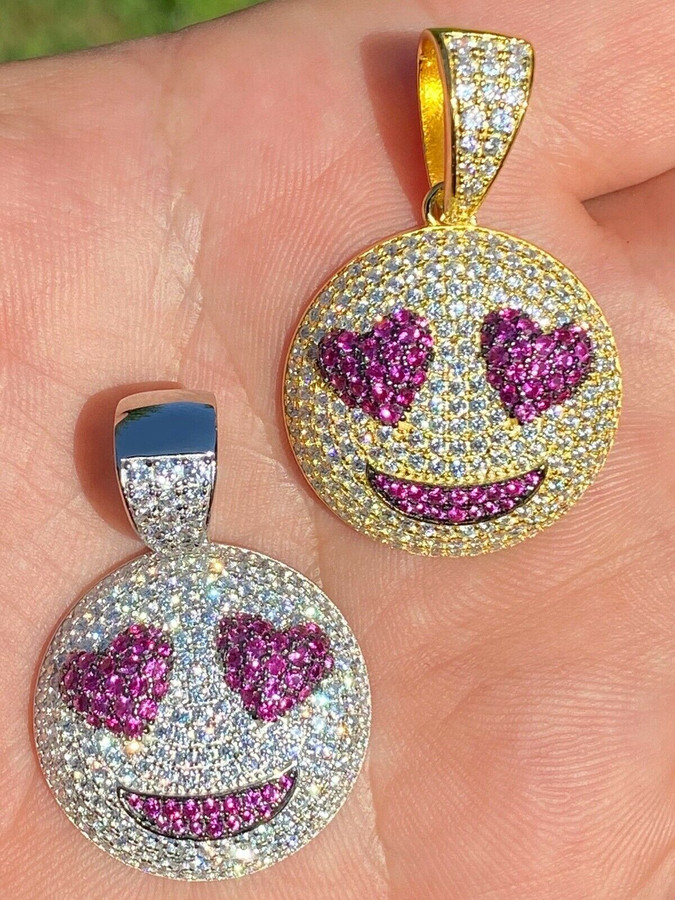 925 Silver Hip Hop Smiling Face Heart Eyes Emoji Love Necklace Iced Smiley