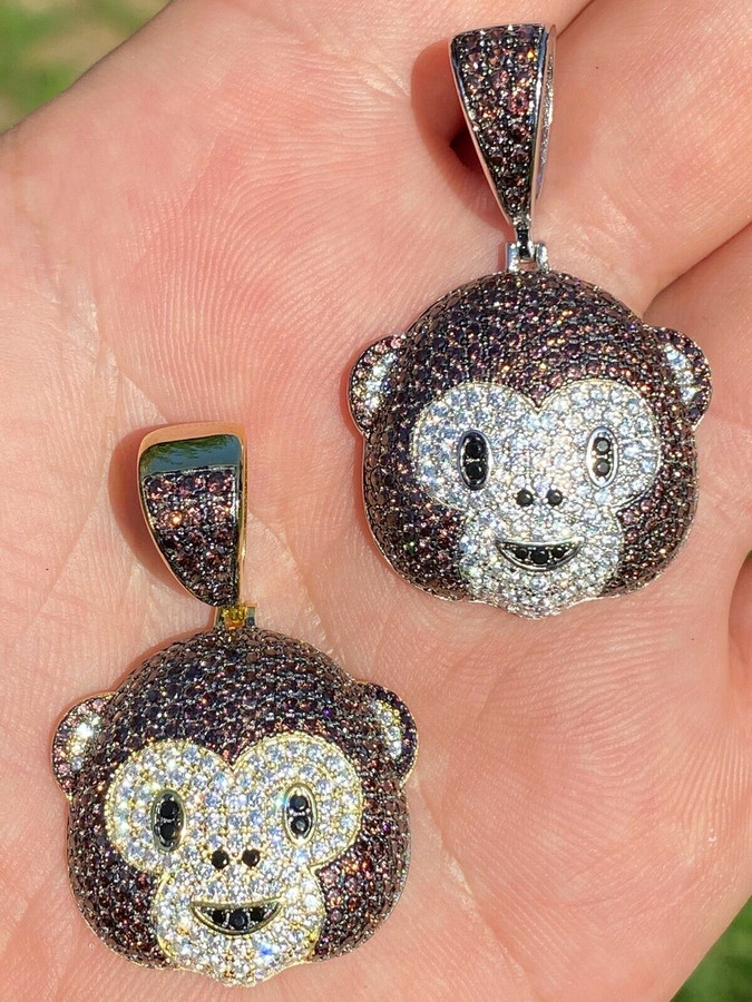 Real Solid 925 Silver Hip Hop Monkey Face Emoji Pendant Necklace Iced Gold