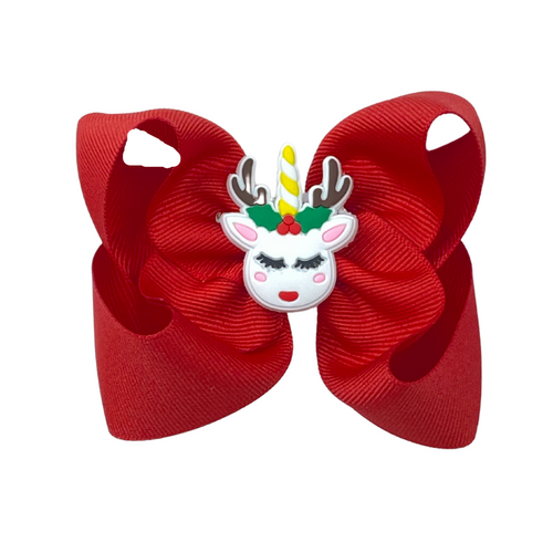 Christmas Unicorn Bow