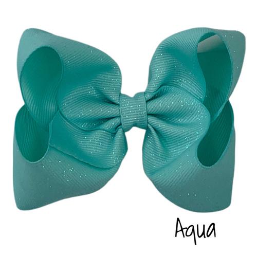 Aqua Glitter Grosgrain