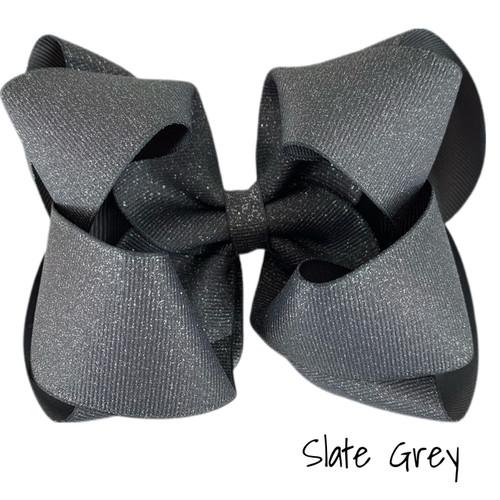 Slate Glitter Grosgrain Stack