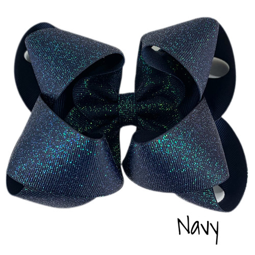 Navy Glitter Grosgrain Stack