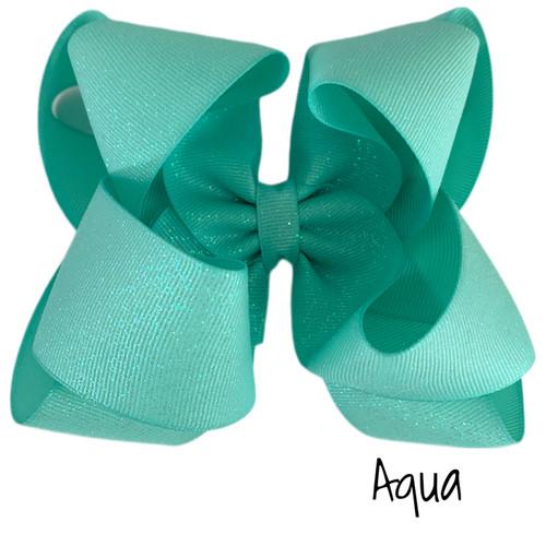 Aqua Glitter Grosgrain Stack
