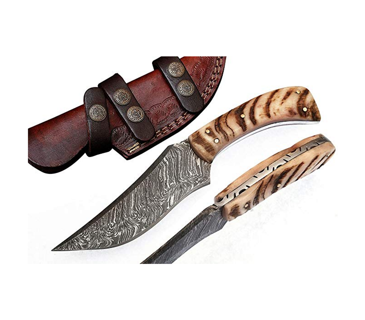 Handmade Damascus Steel Hunting Knife 8 5 Inches With Leather Sheath Imperfect Society