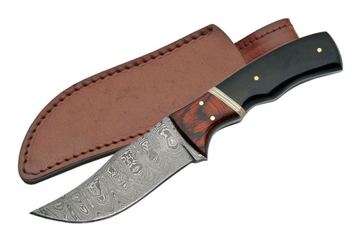 "8"" AUTHENTIC DAMASCUS KNIFE WITH BUFFALO HORN AND WOOD INLAY HANDLE"