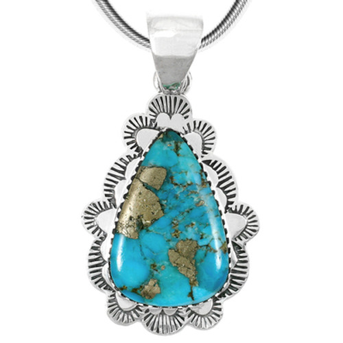 Pendant  in Sterling Silver & genuine semiprecious gemstones, featuring Turquoise & pyrite matrix.  Note:  Due to the nature of this mix of stones, DRAMATIC VARIATIONS in matrix/veining will exist.  Our turquoise has been stabilized, treated, and color-enhanced for beauty and durability.