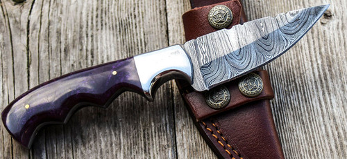 """9"""" Inch Custom Handmade Forged Damascus Steel Hunting Bowie Knife Fixed Blade Resin Handle"""