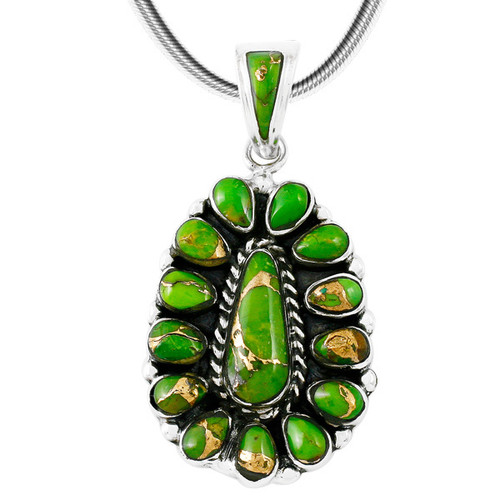 Green Turquoise Pendant Sterling Silver