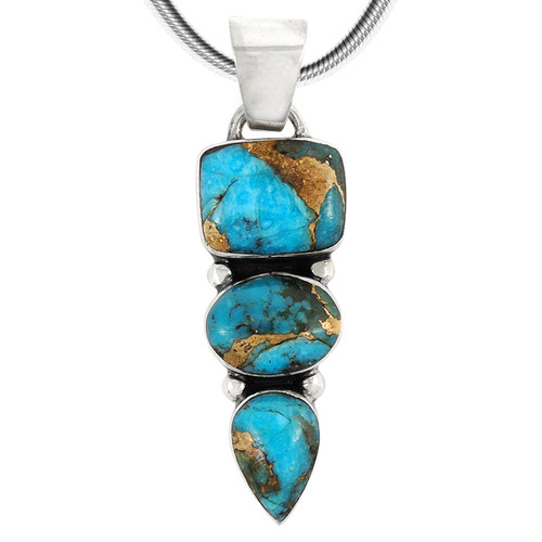 Sterling Silver Pendant Matrix Turquoise 3 Tier