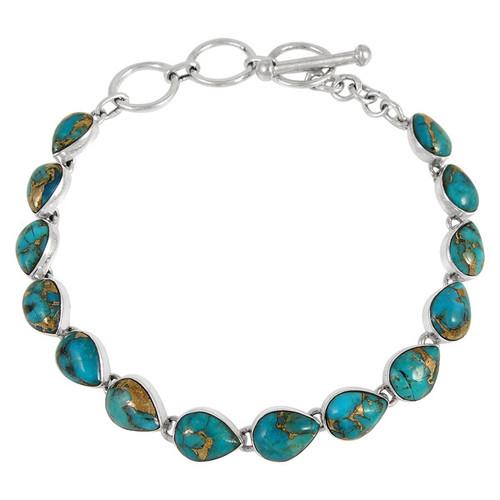 Matrix Turquoise Link Bracelet Sterling Silver