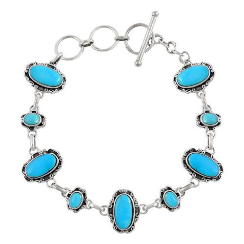 Turquoise Link Bracelet Sterling