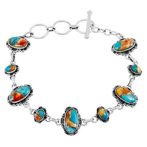 Spiny Turquoise Link Bracelet Sterling Silver